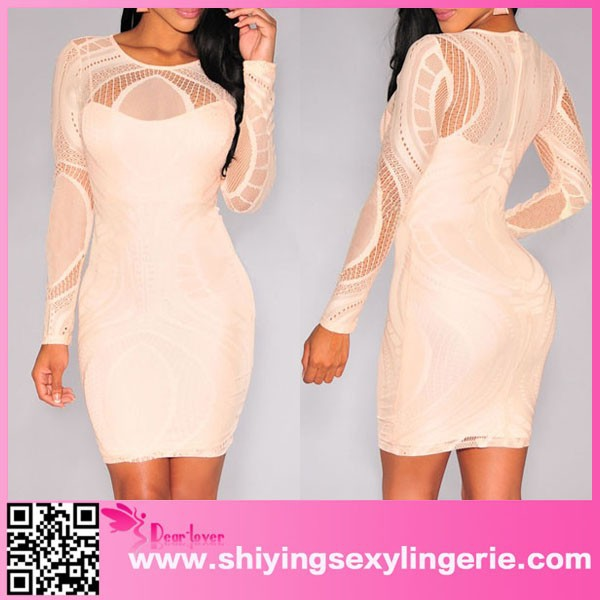 Big Stock Wholesale Apricot Lace Nude Illusion Long Sleeves Bodycon Dress clothes for women