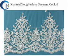 Fashion new coming good price elastic white lace fabric
