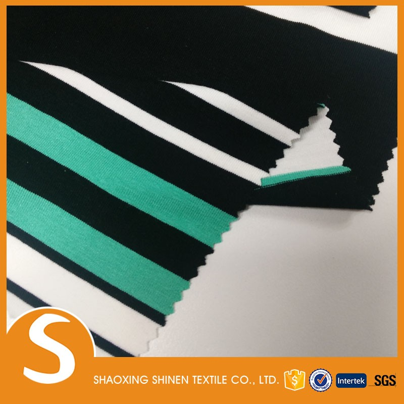 2017 New Popular Rayon poly single spandex jersey stripe fabric