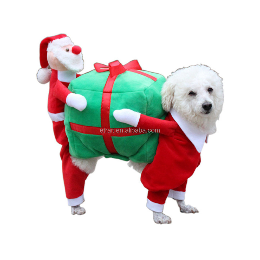 New Version Pet Dog Back-Carry Gift Costume Clothes BackCarrying With Presents For Party Xmas Christmas Present