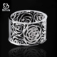 Refined rose flower carved silver jewelry thai bracelet