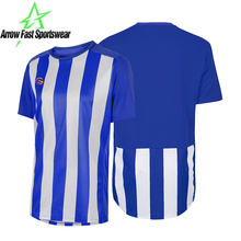 Short Sleeve Blue Striped Football Shirt Sublimated Soccer Jersey Custom Clothing Factory