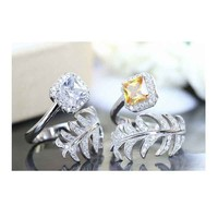 Free sample cushion cut yellow cubic zirconia adjustable fashion ring KR1897S