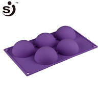 Factort Selling Cheap Discount 5 Half Ball Sphere Shape Silicone Cake Mold For Diy