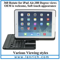 LBK194 bluetooth Keyboard for ipad with Case / Tablet Bluetooth Keyboard 360 swivel For iPad Keyboard case with touch pen