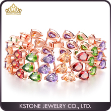 KSTONE Colorful Natural Stones Engrave Gold Plated Bracelet 24Kt Gold Bracelet Gold Jewelry