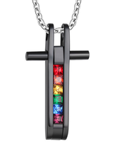 Fashion Jewelry 316l Stainless Steel Rainbow Cross Pendant with CZ for Gay Men Silver Necklace