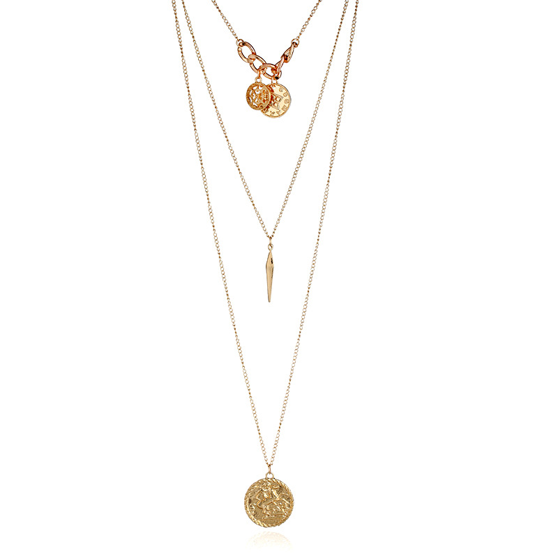 Wholesale Simple Design Gold Plated Alloy Coin Necklaces Women <strong>Jewelry</strong> Fashion Long Layered Necklace