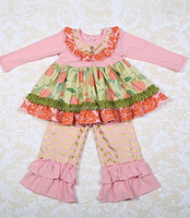 Factory direct wholesale children's boutique clothing fall 2015 little girls remake boutique clothing set