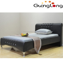 new style black leather bed with diamond