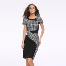 2017 New black and white lattice splicing Slim was thin elastic package hip pencil skirt dress