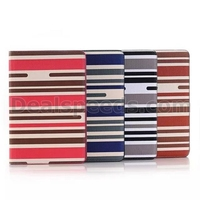 Stripe Wallet Style Side Flip Stand TPU+ PU Leather Case for iPad Mini 4