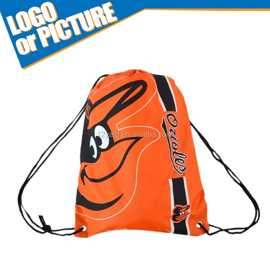 Baseball sack drawstring back baltimore team game light-weight durable polyester bag sport bag for men & women