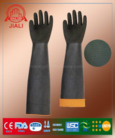 Black Long Sleeve Orange Lined cheap latex industrial safety gloves