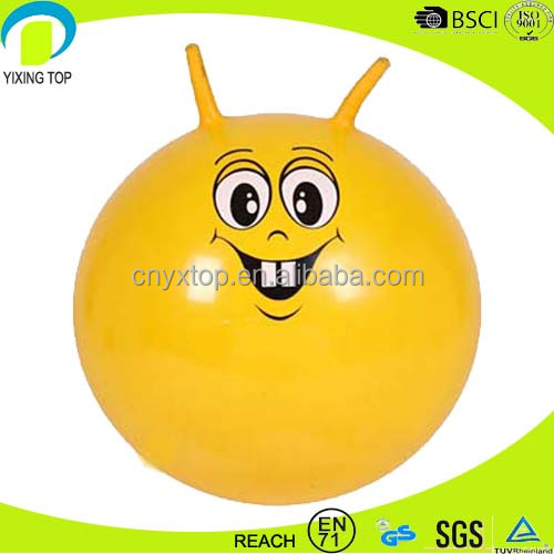 Eco-friendly PVC gymnastic pictures hopper ball with handle