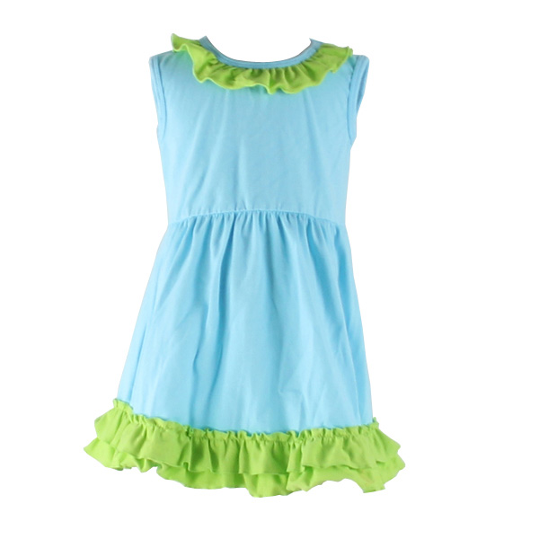 Kids simple design aqua mixed lime color dress summer knited boutique wholesale sleeveless ruffle hemline children garment