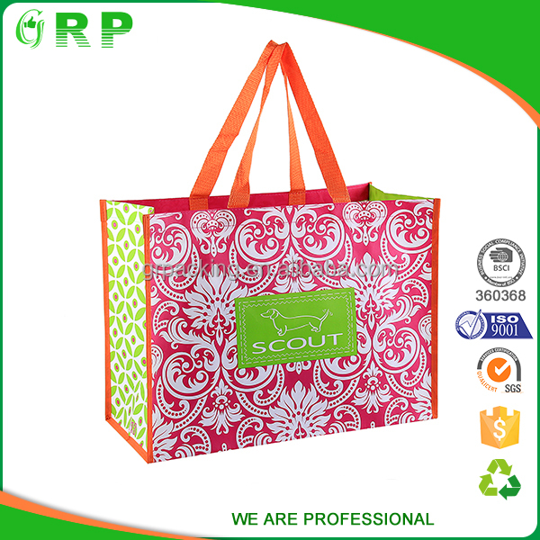 BSCI standard size long handle fancy printing grocery bags reusable