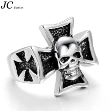 Wholesale Stainless Steel Christian Skull Biker Rings