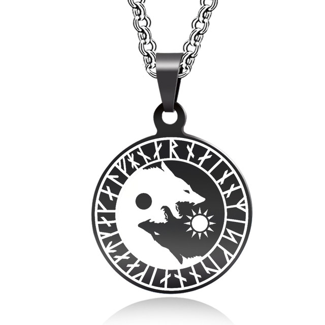 Online Shop Abaicer Yin Yang Wolf Sun Moon Stainless Steel Norse