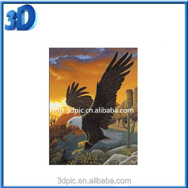 ThreeD factory price custom 3d lenticular pictures of animal eagle for home decoration