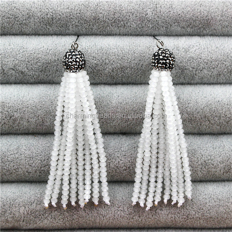 Newest jewelry tassel for necklace charms,handmade glass beads tassel,fashion dangle tassel for DIY jewelry making CH-MBT0043