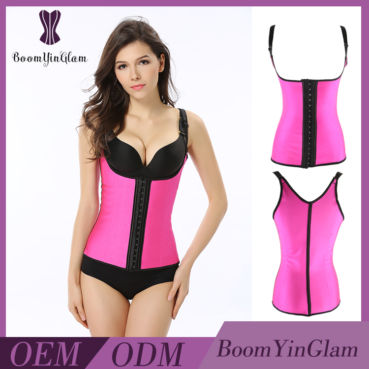 Pink color Invisible halter latex Waist Training Corsets Japanese Corset