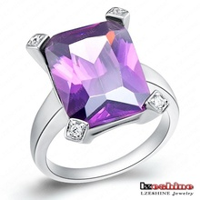 Classic Latest Design Simulated Diamond Engagement Rings Real Platinum Plated Purple Color Vintage Ring WX-RI0053