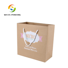 Brown kraft paper 4C printing own logo Shopping packaging bag with handle