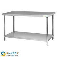 Work Table With Under Shelf/Stainless Steel Dining Table Top/Stainless Steel Kitchen Work Table With 4 Drawer (SY-WT818 SUNRRY)