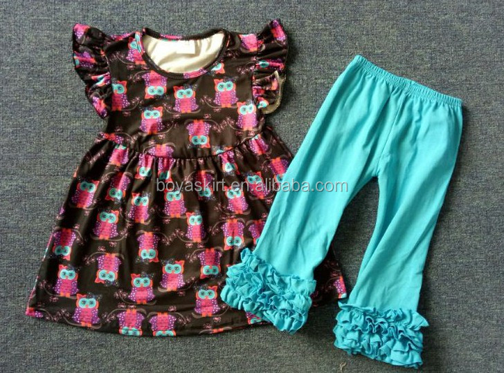 Baby Girl Ruffles Dress and Pants Clothing Outfit Set wholesale Cute Baby Ruffle Girls Boutique summer Sets