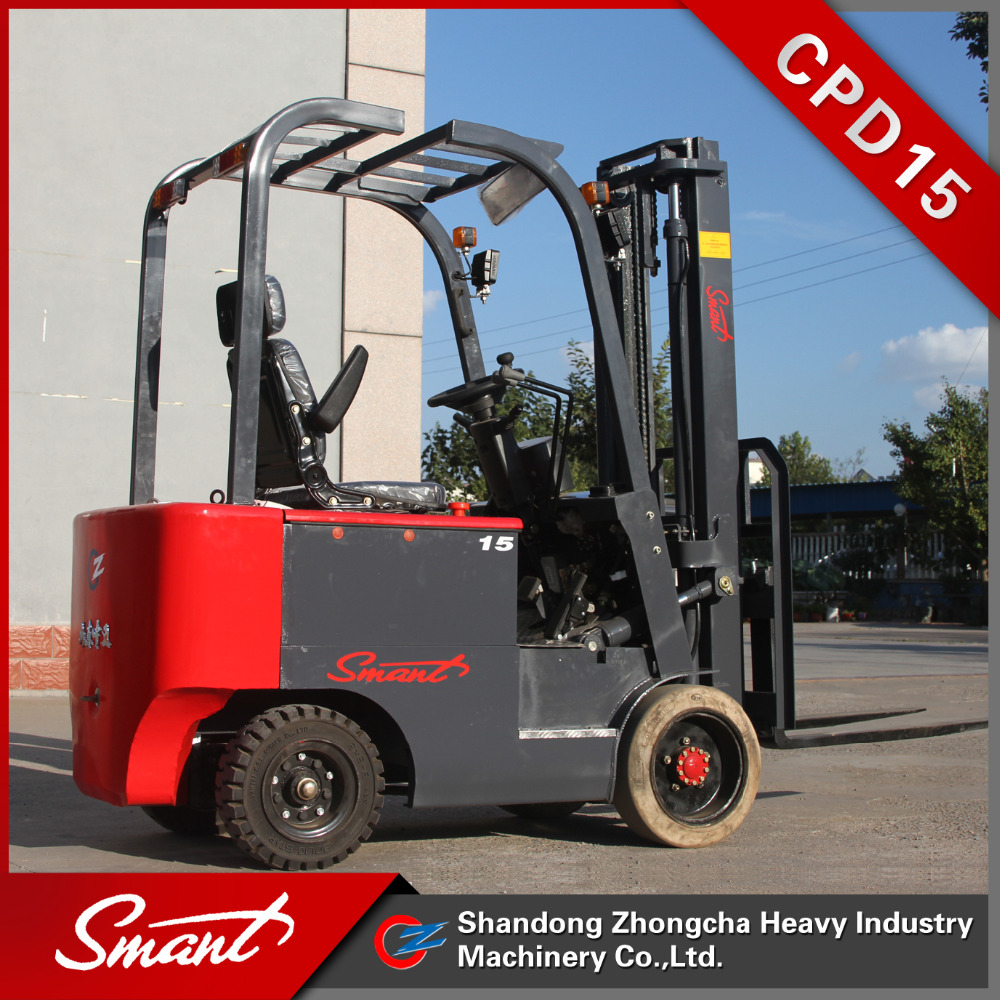 China brand battery operated 1.5 ton 4 wheels electric forklift truck with solid tyre for sale