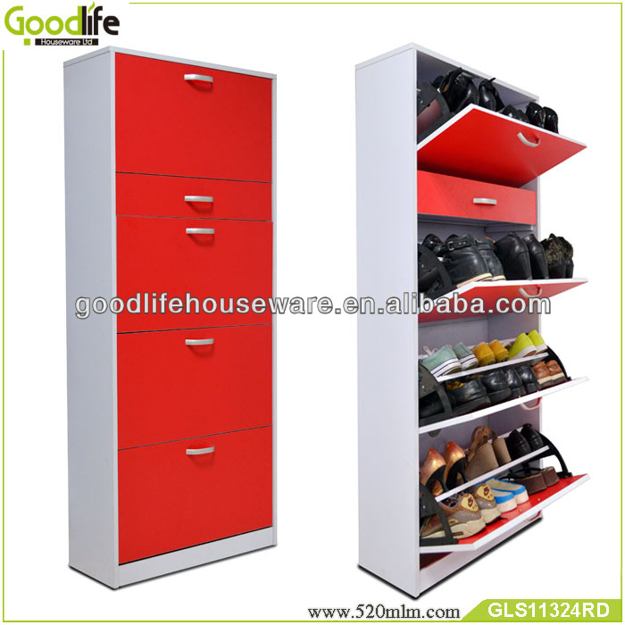 floor standing square models shoe racks wood from China Guangdong