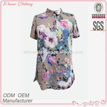 Women's Clothing/Garment Manufacturer Latest Design Chinese Collar Short Sleeve 2013 Fashion Blouse