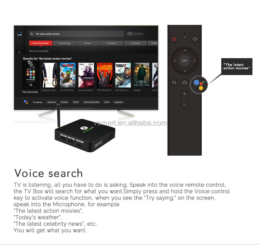 Manufacturer price 2G+16G  android8.0 BT4.2 KM8 ATV 4k android tv box
