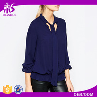 2016 Guangzhou Shandao Good Quality Women Fashion Spring Casual Long Sleeve Navy Blue Cottton Latest Blouse design Pictures