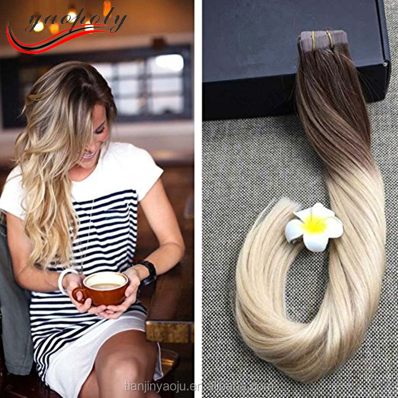Balayage Blonde Hair Good Quality Color 6# Fading to 613 Blonde Aplique Humano Fita Adesiva Glue in Hair Extensions