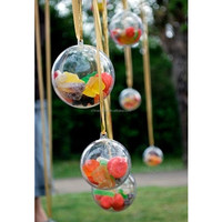 2-part CLEAR TRANSPARENT PLASTIC CRAFT BALL sphere gift