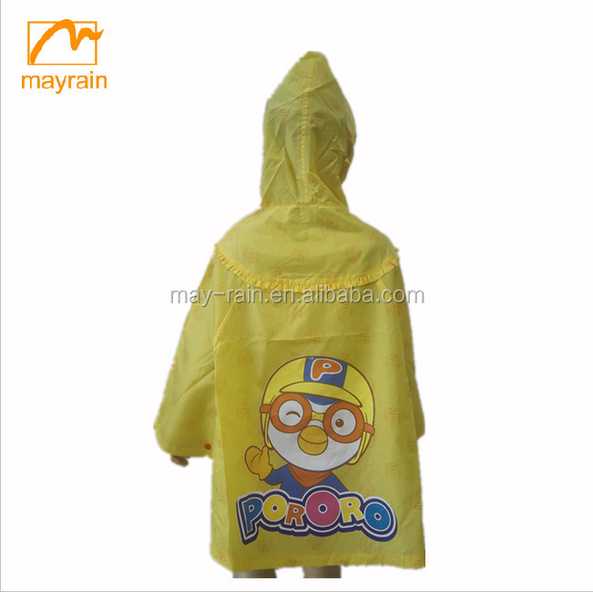 Full version printing rain cape polyester/nylon kids printed rain poncho