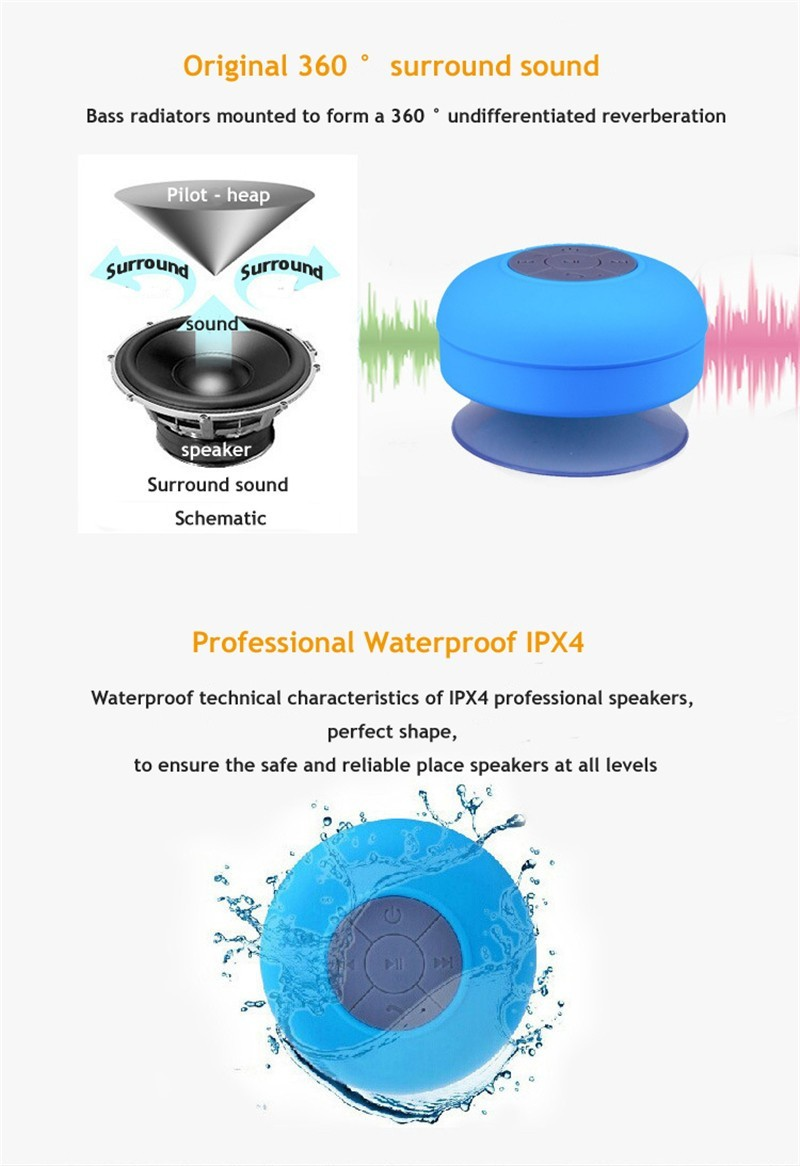 Oem Music Mini Ipx4 Waterproof Shower Bluetooth Speaker With Suction Musik Box 3