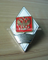 Diamond shape Russia coat of arms eagle badge with screw nuts