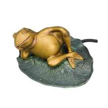 Polyresin lazy frog on lily pad garden pool decoration