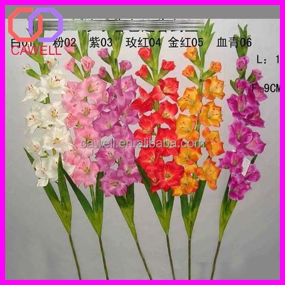 wholesale silk fabric artificial white gladiolus flowers