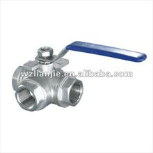 Manual 3 Way Ball Valve with ISO 5211 Mounting Pad