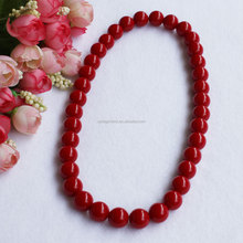Wholesale Acrylic Opaque Color Chunky Round Bead Necklace Smooth Round Lucite Beaded Single Strand Necklace