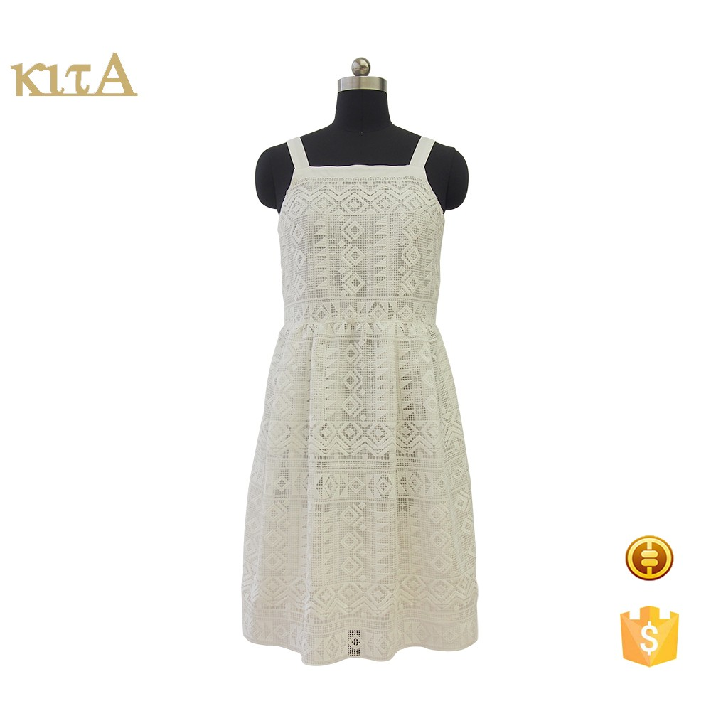 Sweet girls summer style white lace knee length Spaghetti strap dress