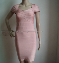 High quality pink knee length simple beautiful cap sleeve club dress 2015 wholesale alibaba bandage dress