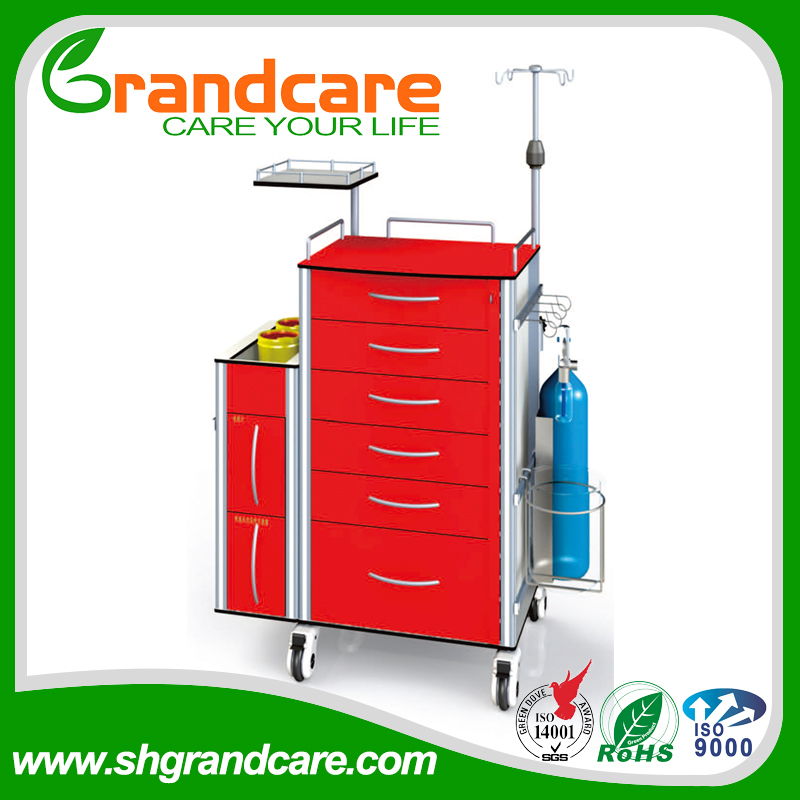 Hot Sell Multi-functional Hospital Crash Cart Medical Trolley