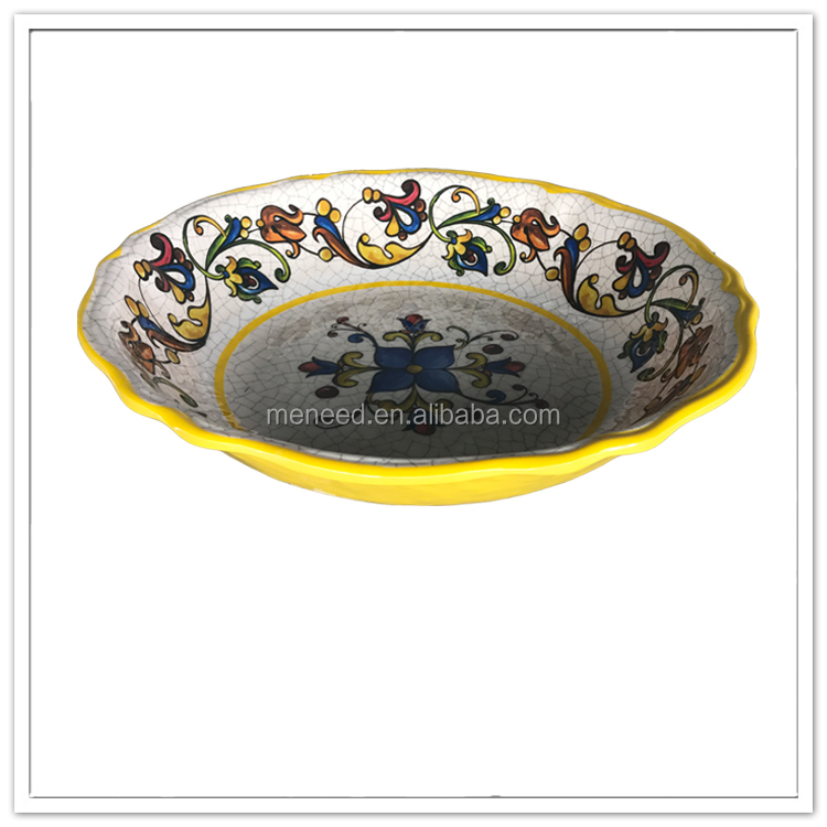 China manufacturer custom colors printing melamine large serving bowl, big salad bowl