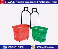 New Portable Large capacity plastic supermarket shopping basket with 4 wheels
