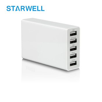 Black/White color USB adaptor 5 ports usb power adapter 5v 40w usb wall charger